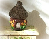 Acorn Cap Fairy House Brown Hut with Butterfly 1:12 Miniature OOAK Sculpt for Fantasy Greenhouse or Garden Decor