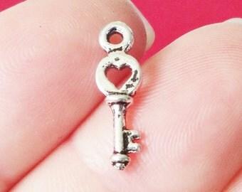 20 Heart Key Charms 16x4.5x3mm, Hole: 1mm