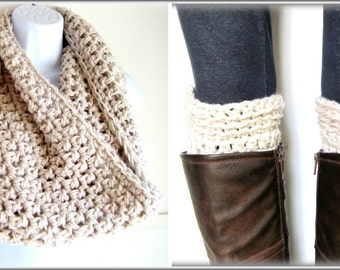 Infinity Scarf and Boot Cuff Set, Beige Bundle Set, Gift Set, Package Boot Socks and Scarf, Linen Beige