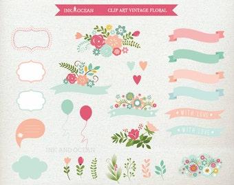 Digital clip art, cute vintage floral flower set,  for invitations, card making, scrapbooking , Instant Download