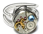 Steampunk Ring -  Antique Watch Movement with Light Blue Crystal - Silver tone
