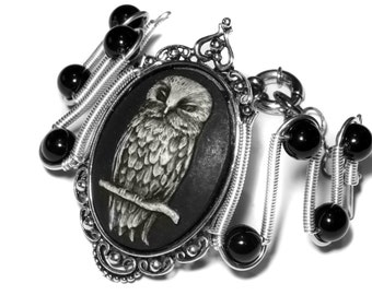 Neo Victorian Steampunk Goth Jewelry - Bracelet - Owl