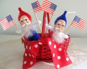 Vintage Santa Spun Cotton Pipe Cleaner Fourth 4th of July American Flag - Made in Japan - 40's 50's Blue
