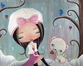 Art Print, Girls Room, Winter, Whimsical, Polar Bear, Girls Wall Art, Birds, Cute