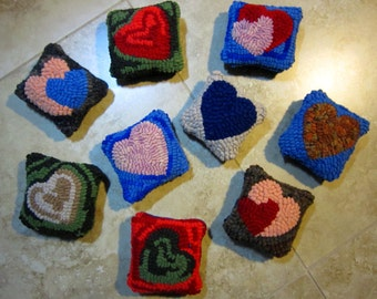 Primitive Hooked Rug PINCUSHIONS from Quilts by Elena Mother's Day Gift Pick One