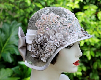 Summer Wedding Hat, Sinamay, Fancy, Wedding,Special Event,High Tea,Garden Party,Womens,Flowers
