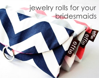 Colorful Modern Bridesmaids Gift Idea. Destination Wedding. Gifts for your Wedding Party. Unique Bridal Party Favors. Set of 3 Jewelry Rolls
