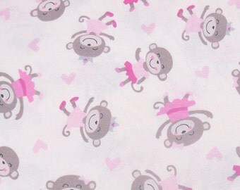 3812 - Monkey Girl Cotton Jersey Knit Fabric - 64 Inch (Width) x 1/2 Yard (Length)