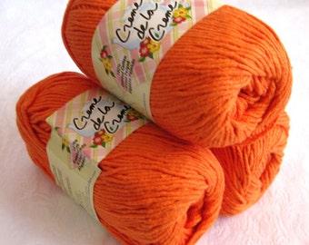 BRIGHT ORANGE Cotton Yarn, worsted weight, Creme de la Creme, pumpkin orange