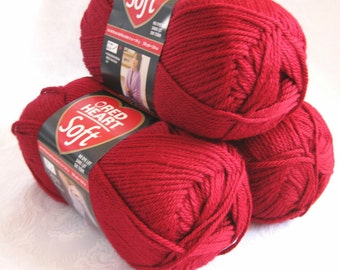 Red Heart Soft WINE yarn,  medium worsted weight yarn, red burgundy yarn