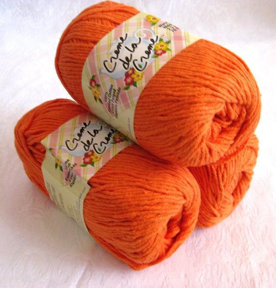 BRIGHT ORANGE Cotton Yarn, worsted weight, Creme de la Creme, pumpkin orange