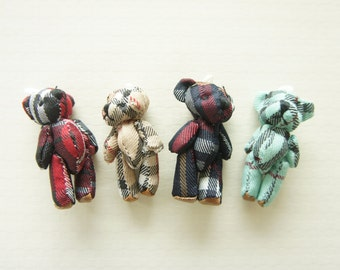 SALE 4 pcs Teddy Check Print Bear Charm (40mm) DO069 (((LAST/ no restock)))