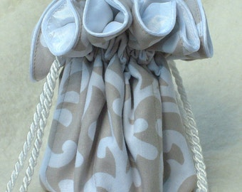 Taupe Grey and White Jewelry Pouch travel organizer perfect for Bridesmaids gift