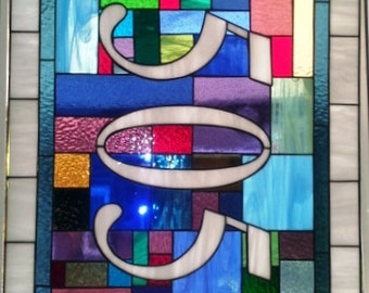 "Stained glass Transom Window - ""Bright Patchwork"" (TW-53)"