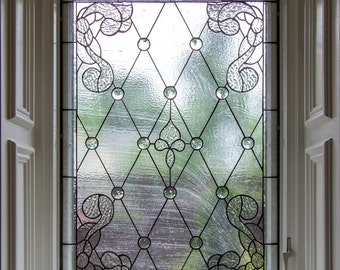 """Stained glass set of windows - """"Classy & Clear"""" (W-69)"""