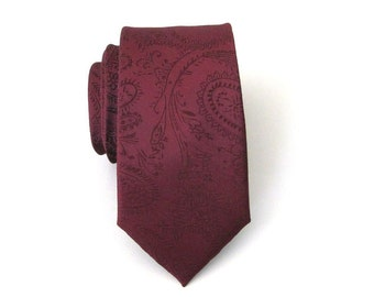 Men's Tie. Burgundy Paisley Mens Skinny Tie With Matching Pocket Square Option