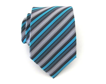Turquoise Mens Tie. Turquoise Teal and Gray Stripes Men's necktie