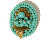 Vintage Miriam Haskell Clip Brooch Art Deco Beaded Turquoise