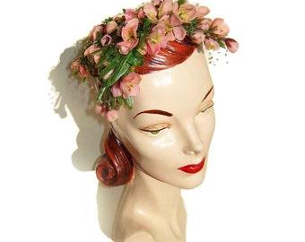 Vintage Bes-Ben Hat Pink Floral Dogwood Blossoms Flowers