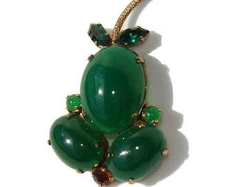 Vintage 40s Pear Brooch Art Deco Glass & Rhinestone Novelty Fruit Pin - Germany