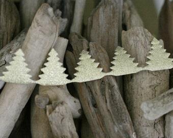 Gold Glitter Puffy Christmas Tree Trim Ribbon 1 yard