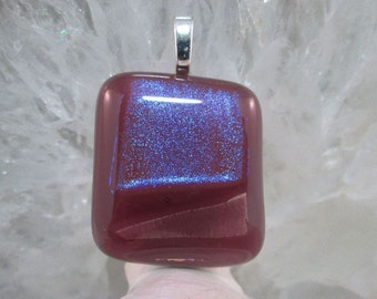Purple Lilac Lavender Dichroic Fused Glass Pendant - Modern Comtemporary Geometric Violet Blue