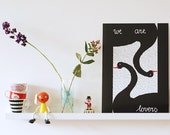 A3 size Poster Black swans
