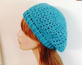 Cotton V-st Beret Dread Tam Crochet Hat in Turquoise