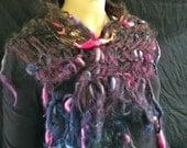 Scarf Shawl Scarflett Rainbow Hues Hand Dyed & Pulled Soft Wool Mohair Silk Fringe Warm Breathable Natural Fantasy Hippie Boho Wearable Art