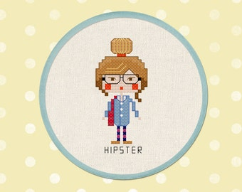 Hipster Girl. Modern Simple Cute Counted Cross Stitch PDF Pattern. Instant Download
