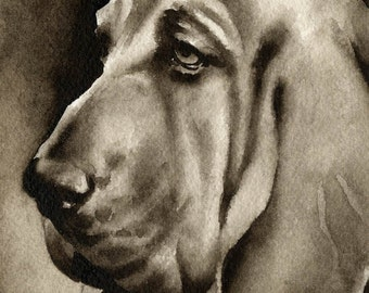 BLOODHOUND Sepia Art Print Signed by Watercolor Artist DJ Rogers