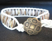White Leather Cuff Bracelet with Shell Beads