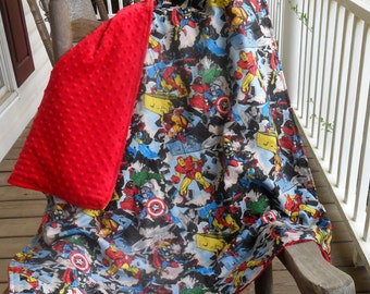 Large Marvel Retro Comic and Red Minky Dot Blanket CHOICE OF MINKY