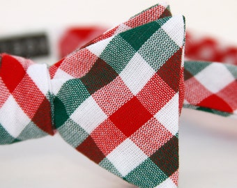 red & green check freestyle bow tie