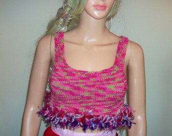Small Hand Knit Pink Stretchy Misses Summer Tank Top
