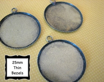 50 Bezels 25mm 1 inch Antique Brass Round Thin  Pendant Trays Settings Jewelry Making