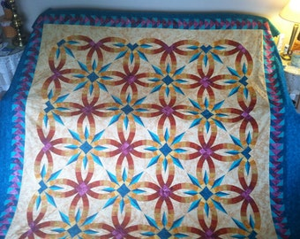Gorgeous Bali Star Double Wedding Ring Quilt Top