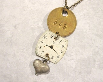 Tag Necklace, Heart Necklace, Vintage Brass Tag, Vintage Heart Charm, Upcycled, Repurposed, OOAK, One of a Kind, Vintage Watch Face