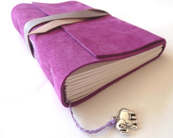 Personalised Leather Journal, Purple Suede