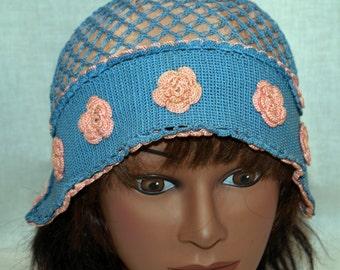 Victorian Crocheted Sleeping Cap Pink Blue