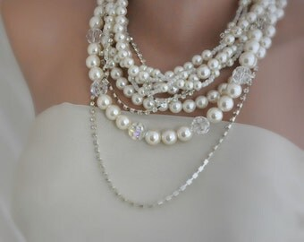 swarovski crystal chunky necklace Layered Brides Necklace with Rhinestones and Swarovski Crystals