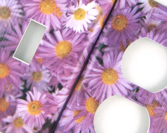 Purple Daisies Light Switch and Outlet Cover