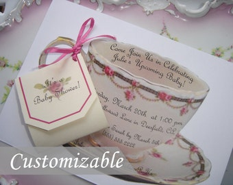 Teacup Invitation, High Tea Invitation, Tea Party Invitation  -- Customizable, Handmade