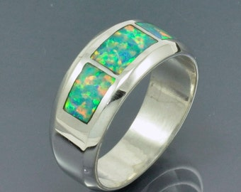 Sterling Silver Opal Inlay Band