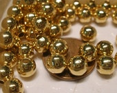 Gold Plated Round Smooth 6mm Beads 250 pc Heavy solid metal