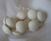 Set of 14 VINTAGE Small White Plastic Dome BUTTONS