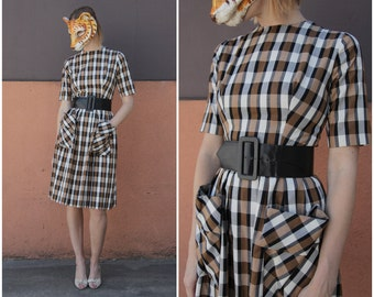 Brown and White Plaid Day Dress with Giant Pockets and Fitted Waist with Belt, by Gigi Young | Small