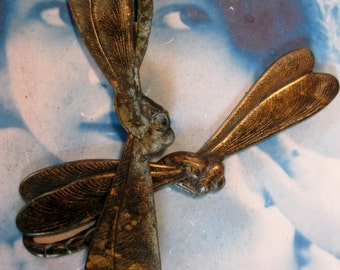Hand Oxidized Art Deco Brass Dragonfly Stampings Bent or Straight you Choose 543HOX x2