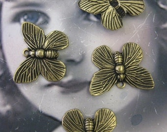 Brass Ox Plated Brass Butterfly Charms 327BOX  x4