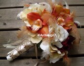 VINTAGE SPICE Wedding Bouquet   With Feather Accents